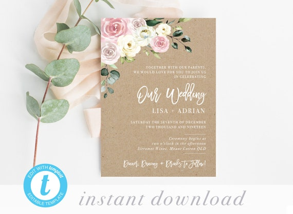 Cheap Rustic Wedding Invitation Template Editable Wedding Invites Printable Invitation Templates Diy Online Pdf Affordable Online Cards
