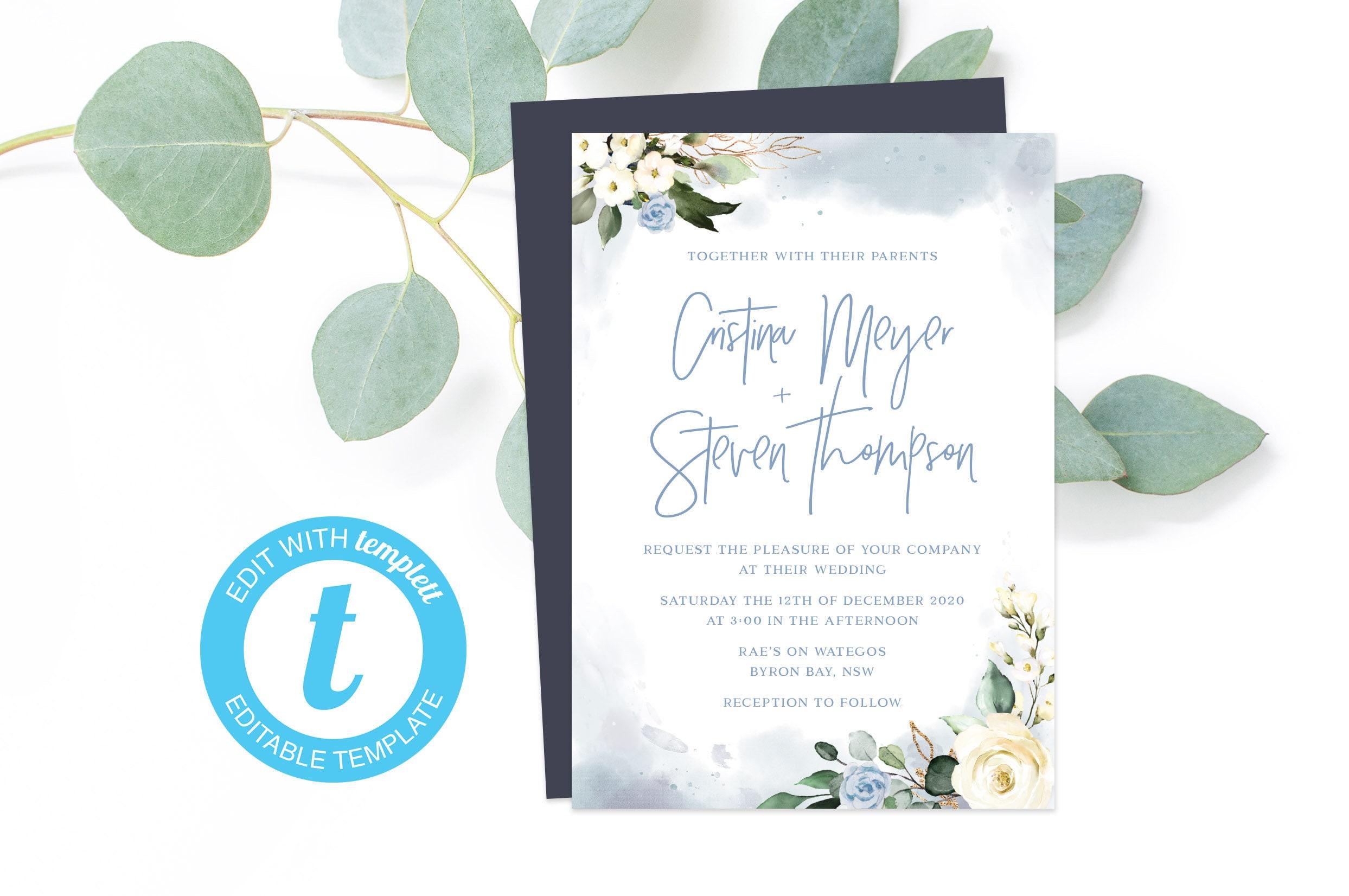 Dusty Blue Wedding Invitation Template, Watercolour Editable Invites, Cheap  Printable PDF, Rustic Engagement Party Invites, DIY Online PDF