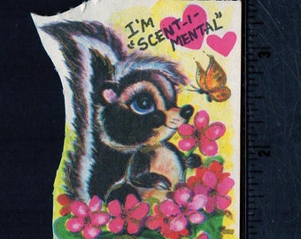 Vintage Valentine Card Cute Little SKUNK Sits in A Pot of Pink Flowers I'm SCENT-IMENTAL About You Original Unused Greeting w/ Gold Accents
