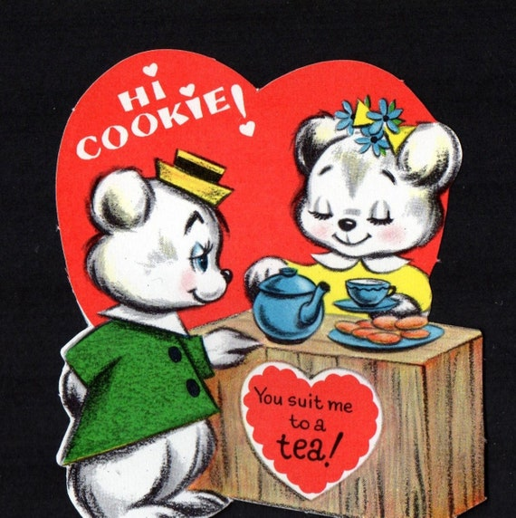 Vintage Valentine Card Cute ANTHROPOMORPHIC Bear I/'m STARRY EYED Over You Unused Original Die Cut Retro Graphics Kitsch Holiday Ephemera