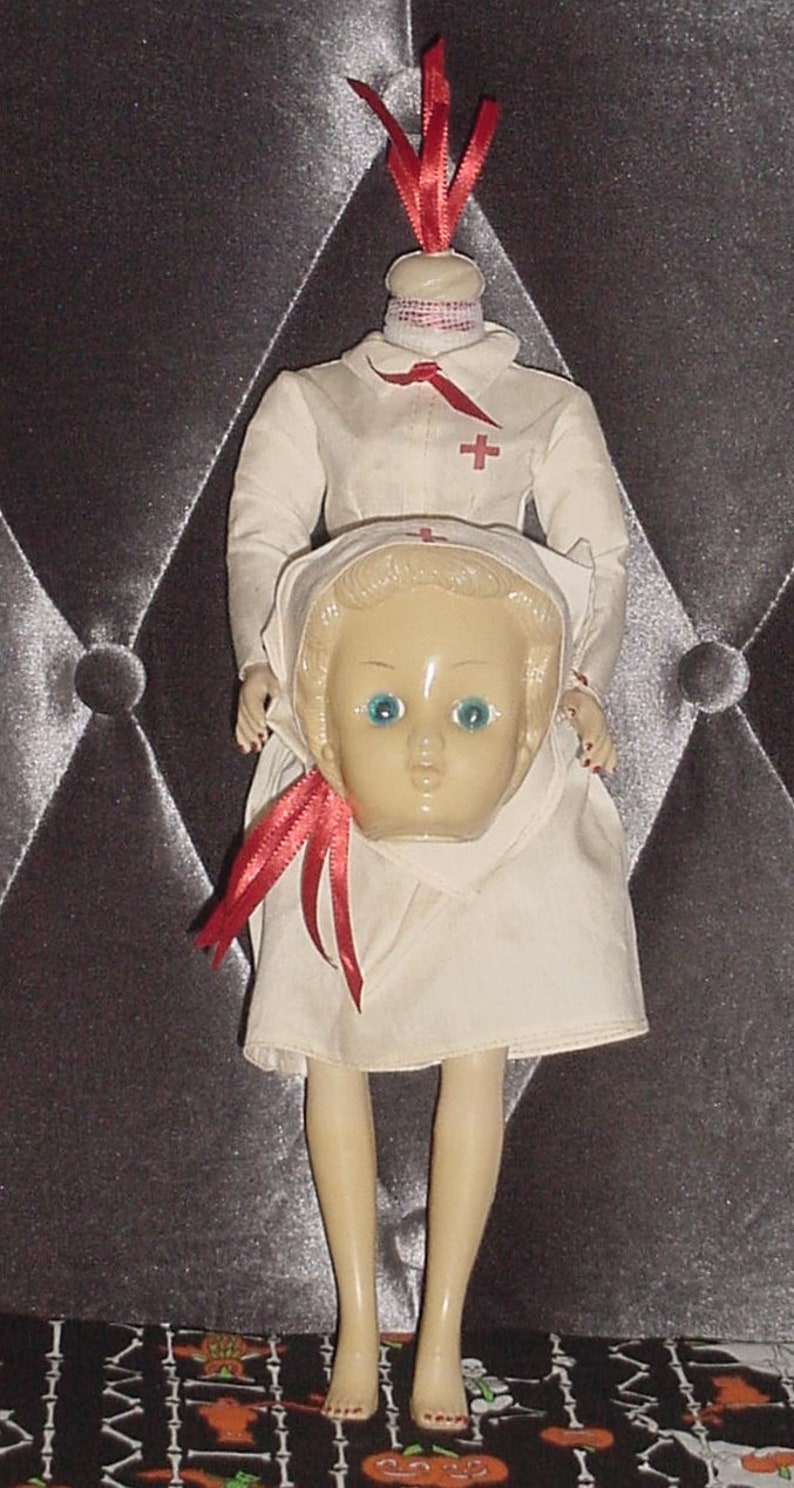 87f18e5de9d9f CREEPY HEADLESS Vintage Fembot NURSE Doll Scary Halloween | Etsy
