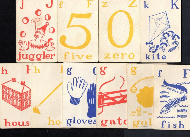 Vintage Flash Card Style GO FISH GAME Use To Teach Children Consonant Sounds Red,Blue,Yellow Illustrations Retro Graphics Home School,Crafts