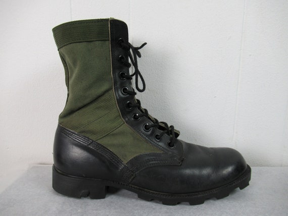 Vintage boots, combat boots, canvas and leather b… - image 2