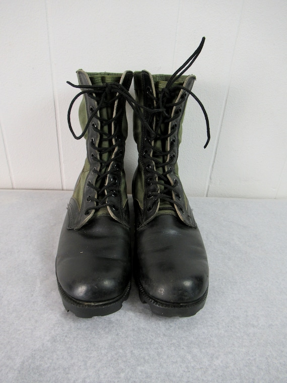 Vintage boots, combat boots, canvas and leather b… - image 4