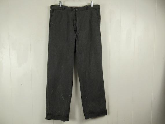Vintage pants, 1930s pants, cotton work pants, vin