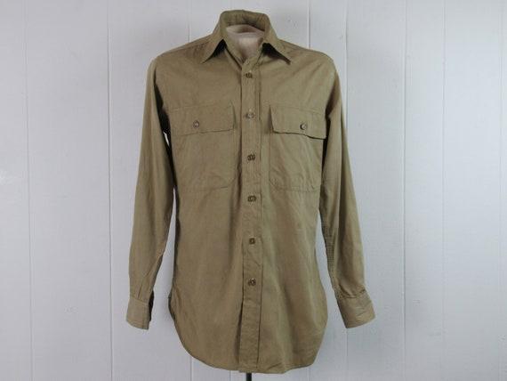 Vintage shirt, 1940s shirt, Army shirt, WWII shirt