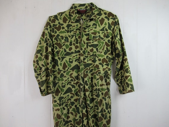 Vintage coveralls, camouflage coveralls, 1960s cov