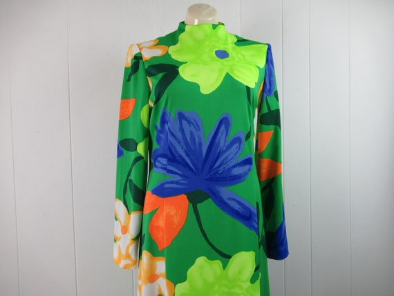 Vintage dress, 1970s dress, flower dress, mod dres