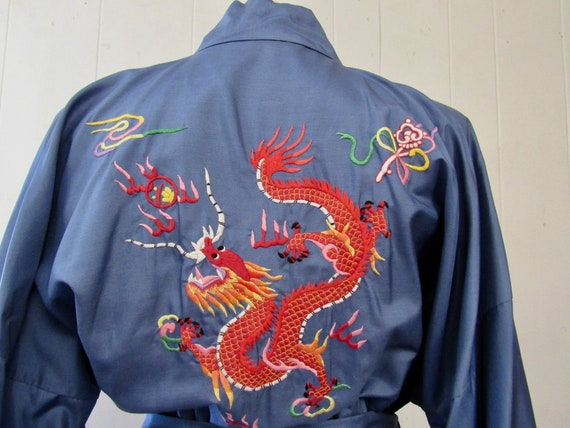 Vintage robe, Asian robe, silk robe, embroidered … - image 1