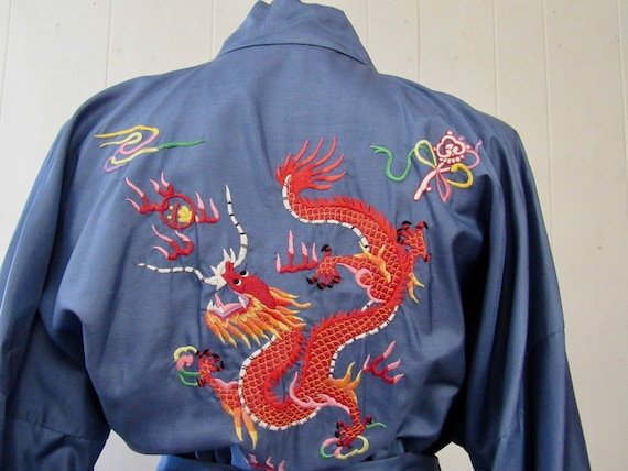 Vintage robe, Asian robe, silk robe, embroidered d
