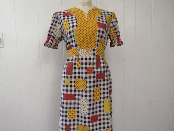 Vintage dress, 1960s dress, patchwork print dress… - image 1