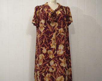 Vintage dress, 1930s dress, Rayon dress, Iris dress, vintage clothing, large