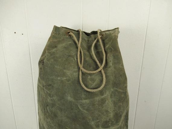 Vintage bag, 1940s bag, canvas bag, canvas duffel… - image 2