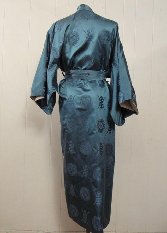 Vintage kimono, Asian jacket, 1950s robe, blue si… - image 4