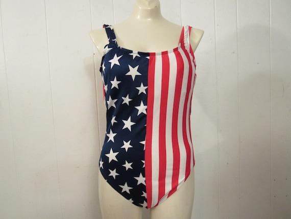 Vintage swimsuit, 1980s swimsuit, American flag sw