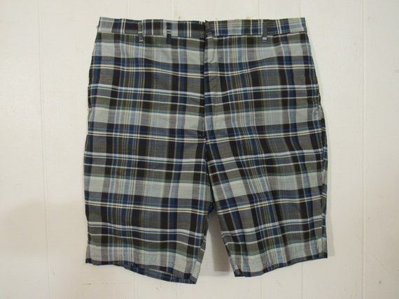 Vintage shorts, 1960s shorts, plaid shorts, Bermud