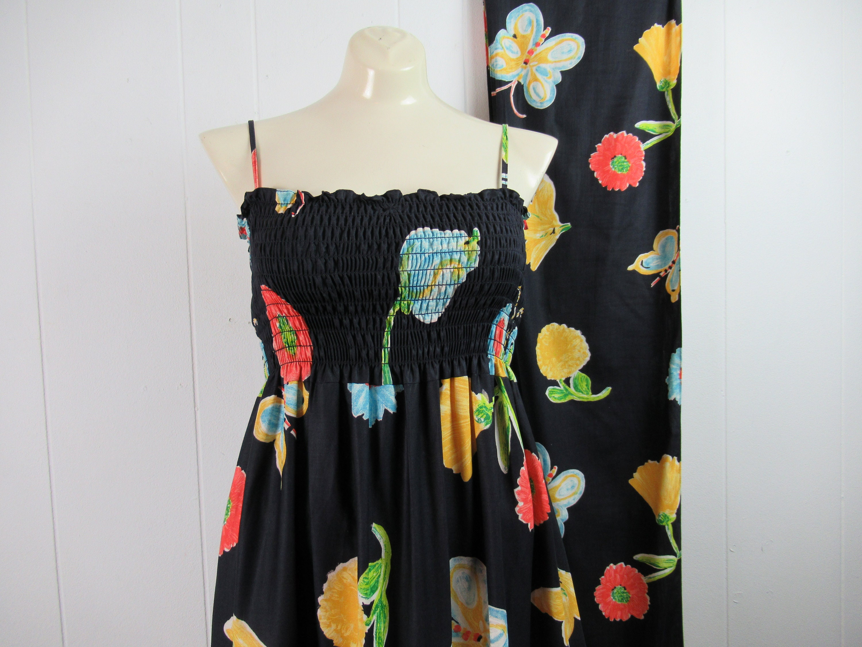 Vintage Scarf Styles -1920s to 1960s Vintage Dress, 1970S Butterfly Summer Dress With Scarf, Vintage Clothing, Size Small, Medium $225.00 AT vintagedancer.com
