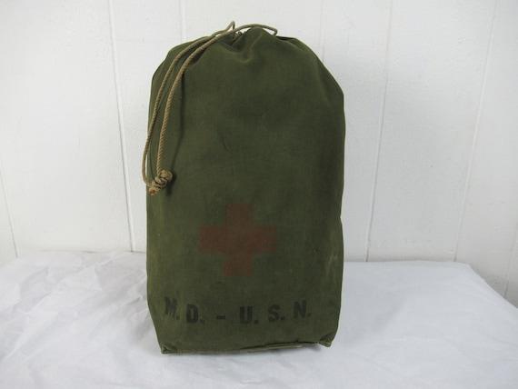 Vintage bag, 1940s bag, U.S.N. bag, M.D. stencil,