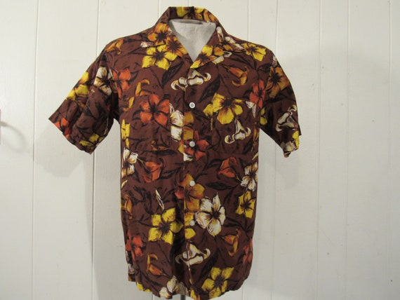 Vintage shirt, 1960s shirt, Hawaiian shirt, floral