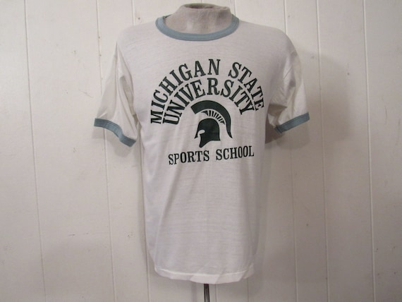 Vintage t shirt, 1960s t shirt, ringer t shirt, Mi