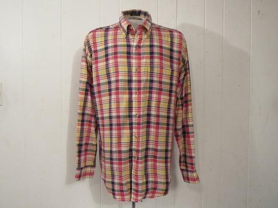 Vintage shirt, madras plaid shirt, madras cotton,