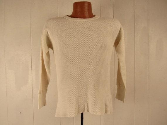Vintage shirt, 1950s shirt, thermal shirt, cotton
