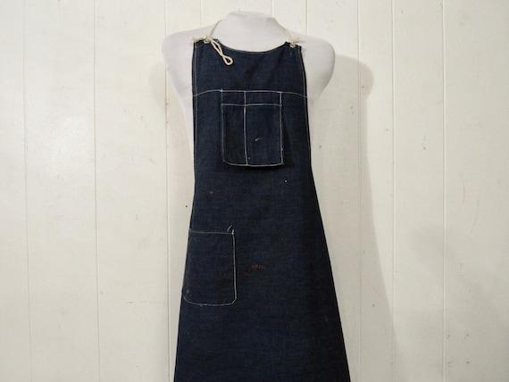 Vintage apron, 1950s apron, denim apron, vintage w