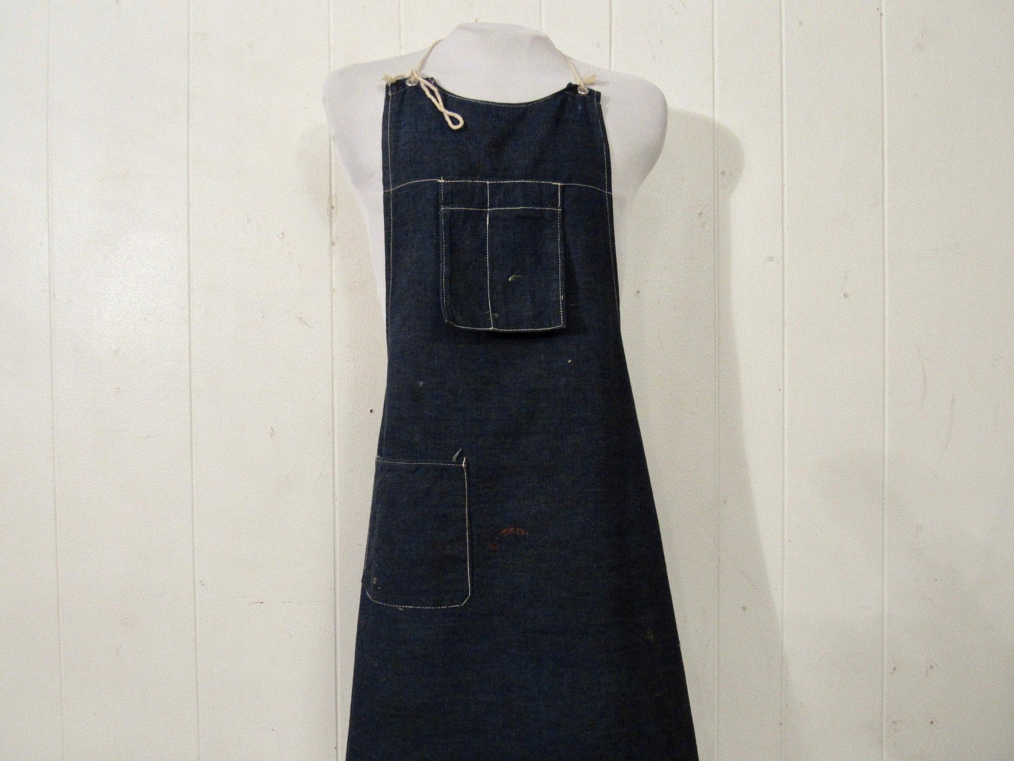 Vintage Aprons, Retro Aprons, Old Fashioned Aprons & Patterns Vintage Apron, 1950S Denim Vintage Workwear, Work Denim, Clothing $79.00 AT vintagedancer.com
