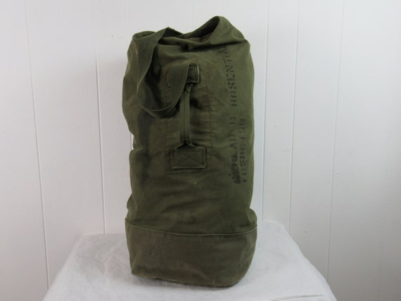 Vintage knapsack, 1950s shoulder bag, canvas bag,