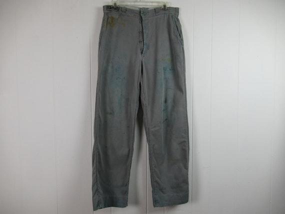 Vintage pants, 1950s pants, work pants, distressed