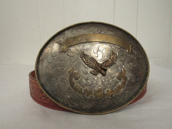 Vintage belt, large belt buckle, eagle belt, leath