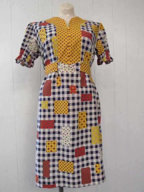 Vintage dress, 1960s dress, patchwork print dress… - image 2