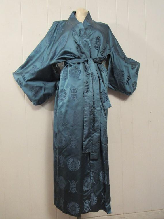 Vintage kimono, Asian jacket, 1950s robe, blue si… - image 2