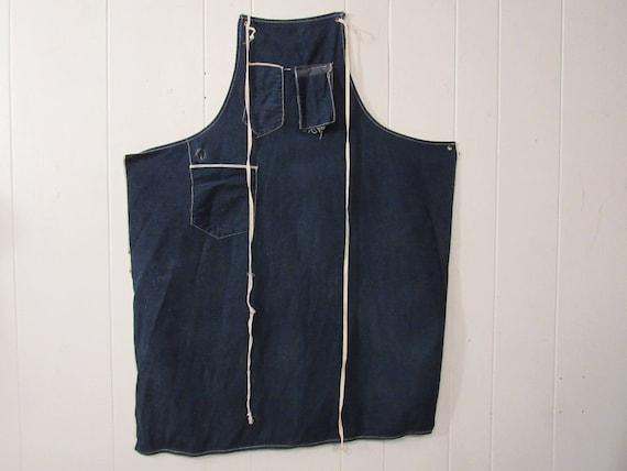 Vintage apron, 1940s apron, blue apron, vintage wo