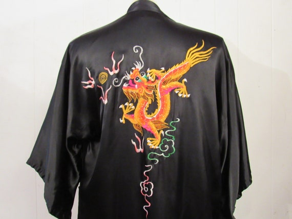 Vintage robe, dragon robe, asian robe, satin robe,
