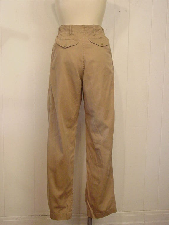 Vintage high waisted pants, khaki pants, Army pant