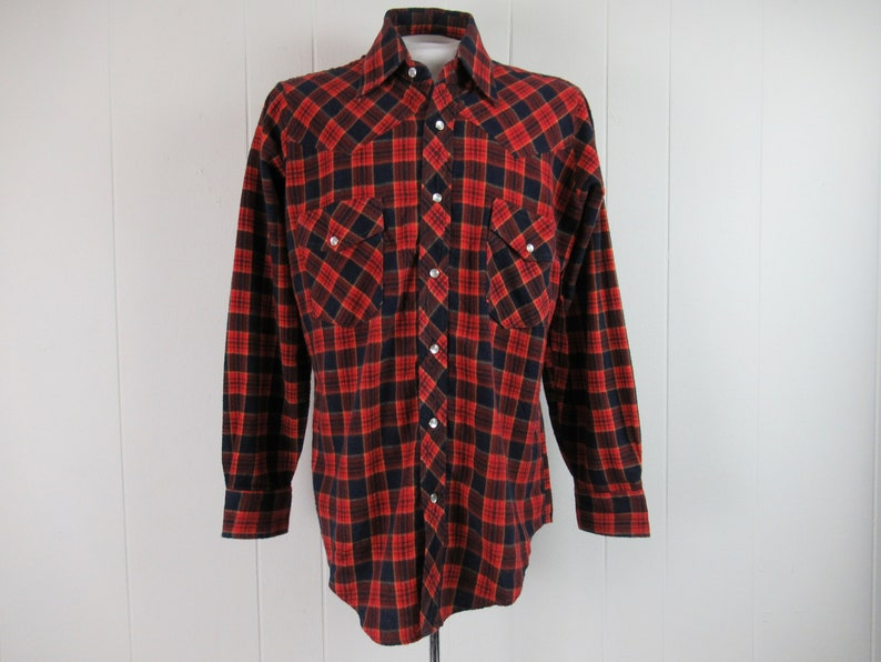 size medium vintage clothing plaid shirt cotton flannel shirt cowboy shirt 1970s shirt Vintage shirt