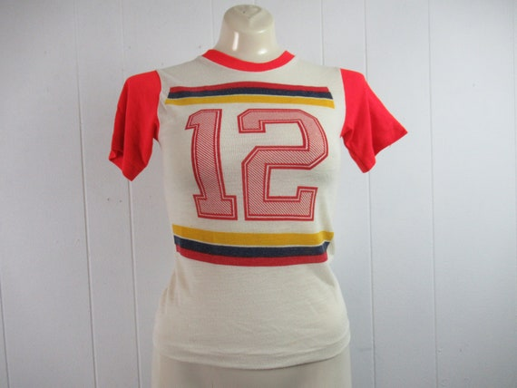 Vintage t shirt, 1970s t shirt, #12 t shirt, 1970s