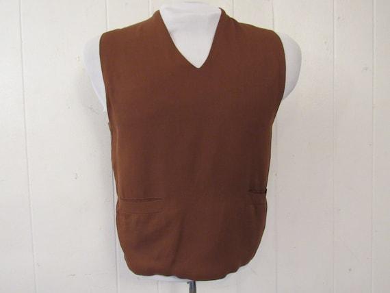 Vintage vest, 1950s vest, Gabardine vest, Rayon ve