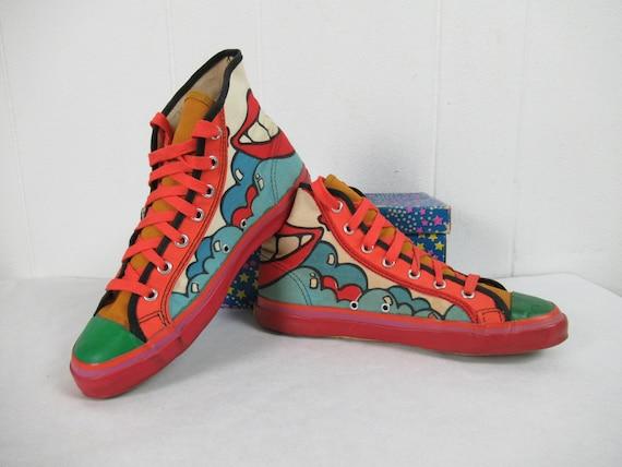 Vintage shoes, Peter Max shoes, hi top shoes, Pete