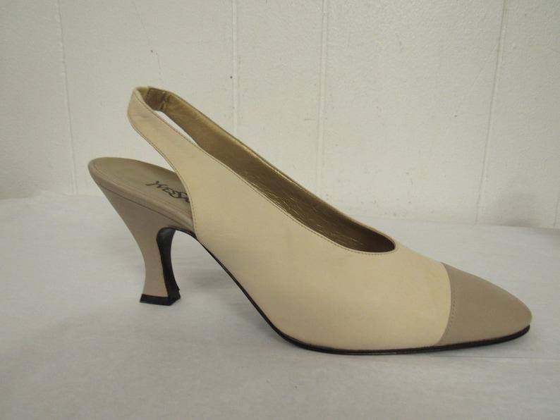 67eb1593c39a4 Vintage shoes, YSL shoes, 1980s shoes, sling back pumps, YSL heels, vintage  pumps, Yves Saint Laurent shoes, vintage clothing, 10