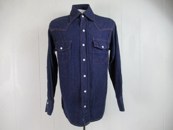 Vintage shirt, denim shirt, 1960s shirt, work shir