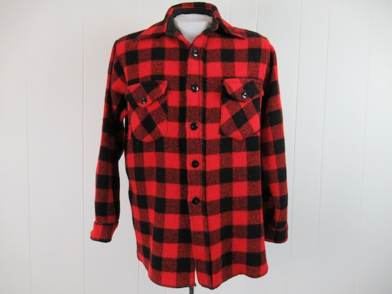 Vintage shirt, 1960s shirt, buffalo plaid shirt, p
