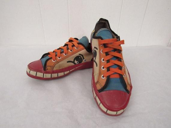 Peter Max shoes, 1960s shoes, vintage canvas shoes