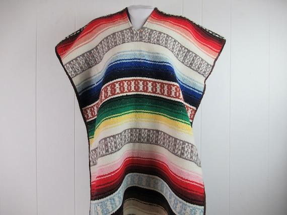 Vintage poncho, Mexican poncho, Mexican rug poncho