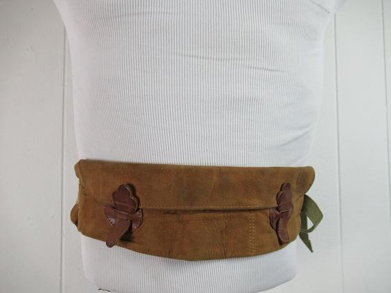 Vintage money belt, 1930s money belt, leather mone