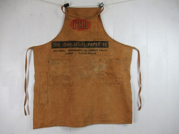 Vintage apron, 1940s apron, work apron, Leslie pap