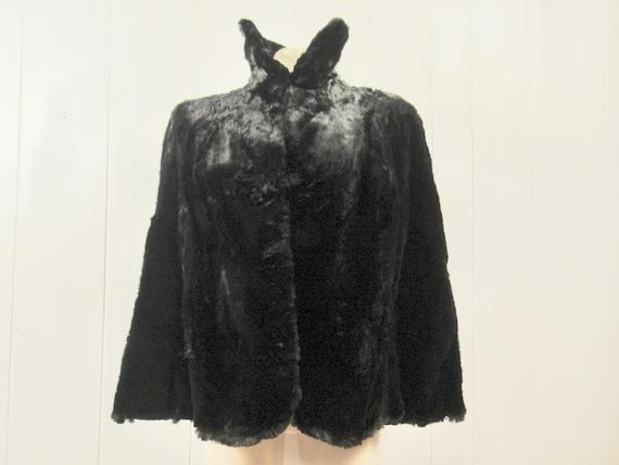 Vintage cape, 1940s cape, fur cape, sheared beaver