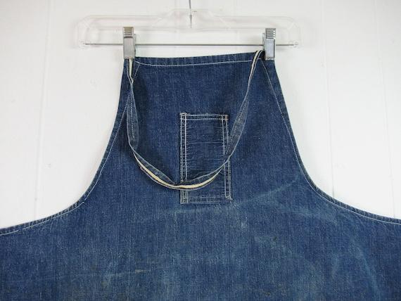 Vintage denim apron, 1940s apron, blue apron, vin… - image 2