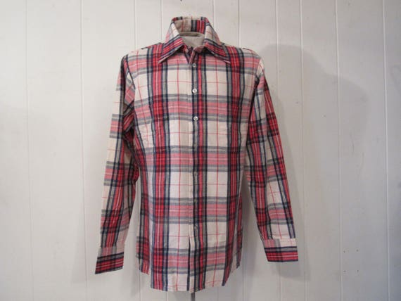 Vintage shirt, flannel shirt, plaid shirt, 1980s s
